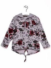 Szara bluza dla dziewczynki w róże