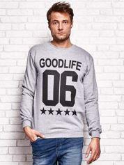 Szara bluza męska z napisem GOODLIFE 06