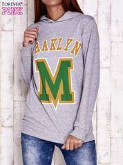 Szara bluza z kapturem i napisem FRAKLYN M