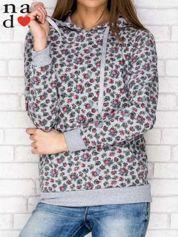 Szara bluza z kapturem nadruk kwiatowy