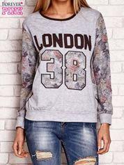 Szara bluza z motywem kwiatowym i napisem LONDON 38
