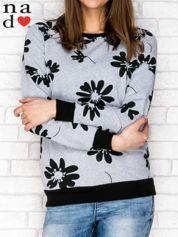 Szara bluza z nadrukiem kwiatowym