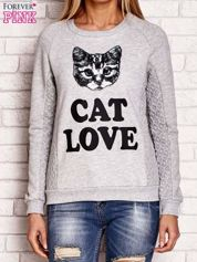 Szara bluza z napisem CAT LOVE