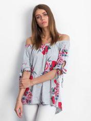 Szara bluzka hiszpanka w kwiatowe wzory
