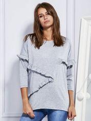 Szara bluzka z asymetrycznymi falbanami
