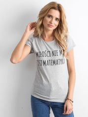 Szara damska koszulka z napisem