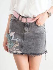Szara jeansowa spódnica z aplikacją