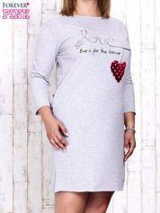 Szara sukienka dresowa z napisem LOVE PLUS SIZE