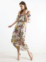 Szara wzorzysta sukienka z hiszpańskim dekoltem
