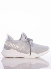 Szare ażurowe buty sportowe Rue Paris z przezroczystymi szlufkami i białymi napisami