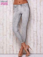 Szare jeansowe spodnie z efektem wytarcia PLUS SIZE