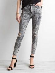 Szare jeansy z efektem sprania