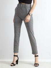 Szare spodnie w pepitkę z wysoką talią