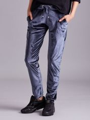 Szare welurowe spodnie z troczkami