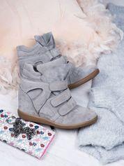 Szare zamszowe sneakersy na rzepy Leni