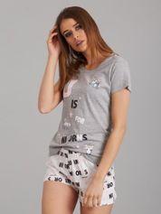 Szaro-biała krótka piżama damska z nadrukiem