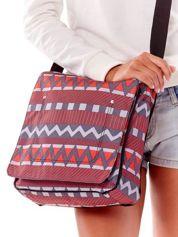 Szaro-czerwona torba na ramię w geometryczne wzory