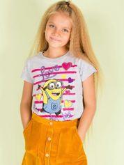 Szary t-shirt dla dziewczynki MINIONKI z cekinami