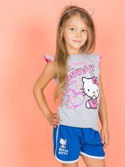 Szary t-shirt dla dziewczynki z falbankowymi rękawkami HELLO KITTY