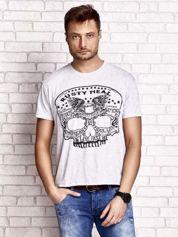 Szary t-shirt męski z nadrukiem czaszki i napisami