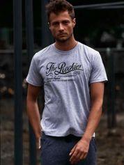 Szary t-shirt męski z nadrukiem napisu THE ROCKIES