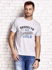 Szary t-shirt męski z napisem BROOKLYN NYC
