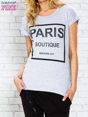 Szary t-shirt z napisem PARIS BOUTIQUE z dżetami