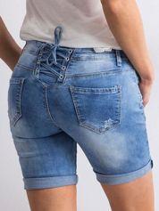 Szorty jeansowe ze sznurowaniem niebieskie