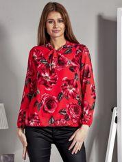 Szyfonowa bluzka w kwiaty z wiązaniem czerwona