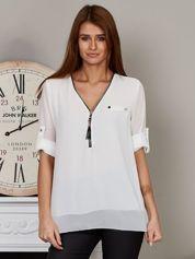 Szyfonowa bluzka z suwakiem biała
