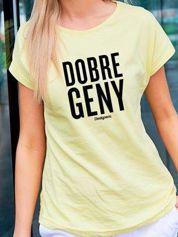T-shirt damski DOBRE GENY żółty