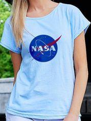 T-shirt damski NASA niebieski