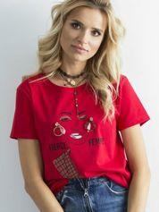 T-shirt damski z aplikacją czerwony