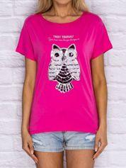 T-shirt damski z cekinową sową ciemnoróżowy