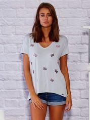 T-shirt damski z cekinowymi motylami szary