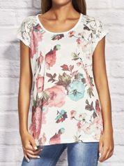 T-shirt damski z motywem roślinnym ecru