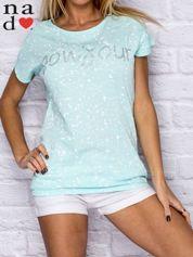 T-shirt damski z napisem BONJOUR miętowy