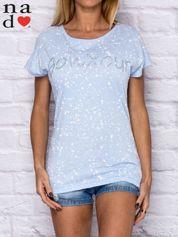T-shirt damski z napisem BONJOUR niebieski