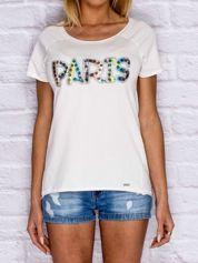 T-shirt damski z napisem PARIS ecru
