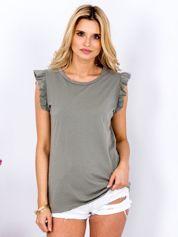 T-shirt khaki z falbankami