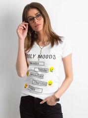 T-shirt z bawełny z printem biały