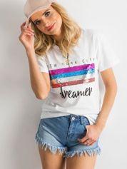 T-shirt z cekinami biały