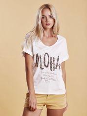 T-shirt z cekinowym napisem biały