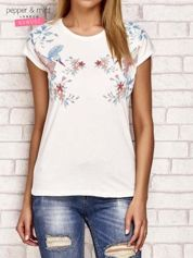 T-shirt z egzotycznym nadrukiem ecru