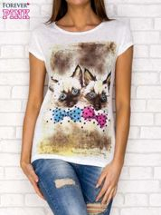 T-shirt z nadrukiem kotów ecru