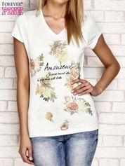 T-shirt z nadrukiem kwiatowym jasnoturkusowy
