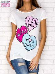 T-shirt z nadrukiem serc ecru