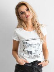 T-shirt z napisami ecru