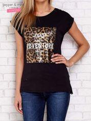 T-shirt z panterkowym nadrukiem czarny