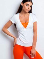 T-shirt z wycięciem na plecach biało-pomarańczowy